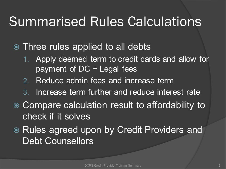 Summarised Rules Calculations