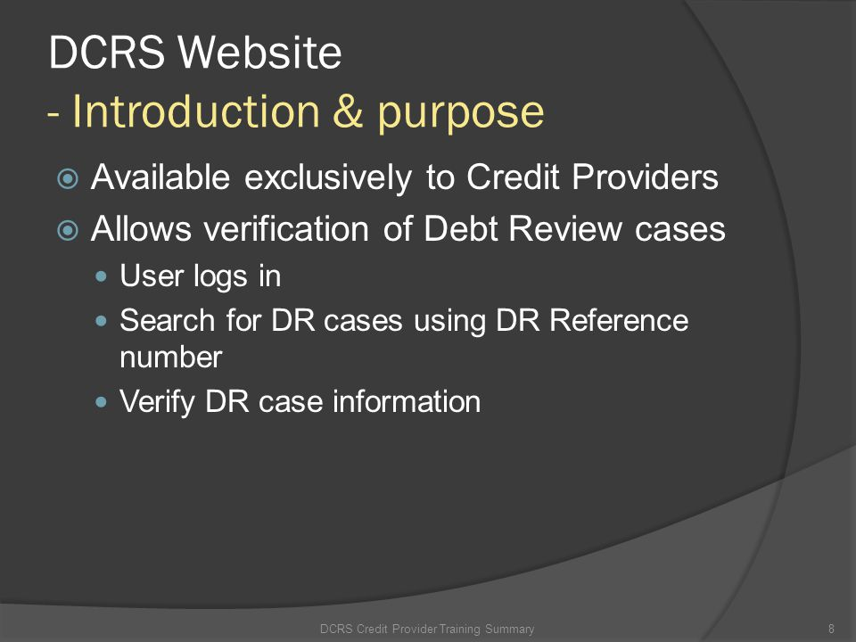 DCRS Website - Introduction & purpose