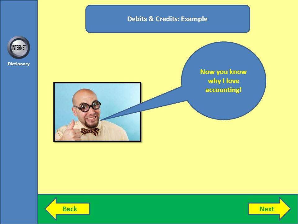 Debits & Credits: Example Now you know why I love accounting!