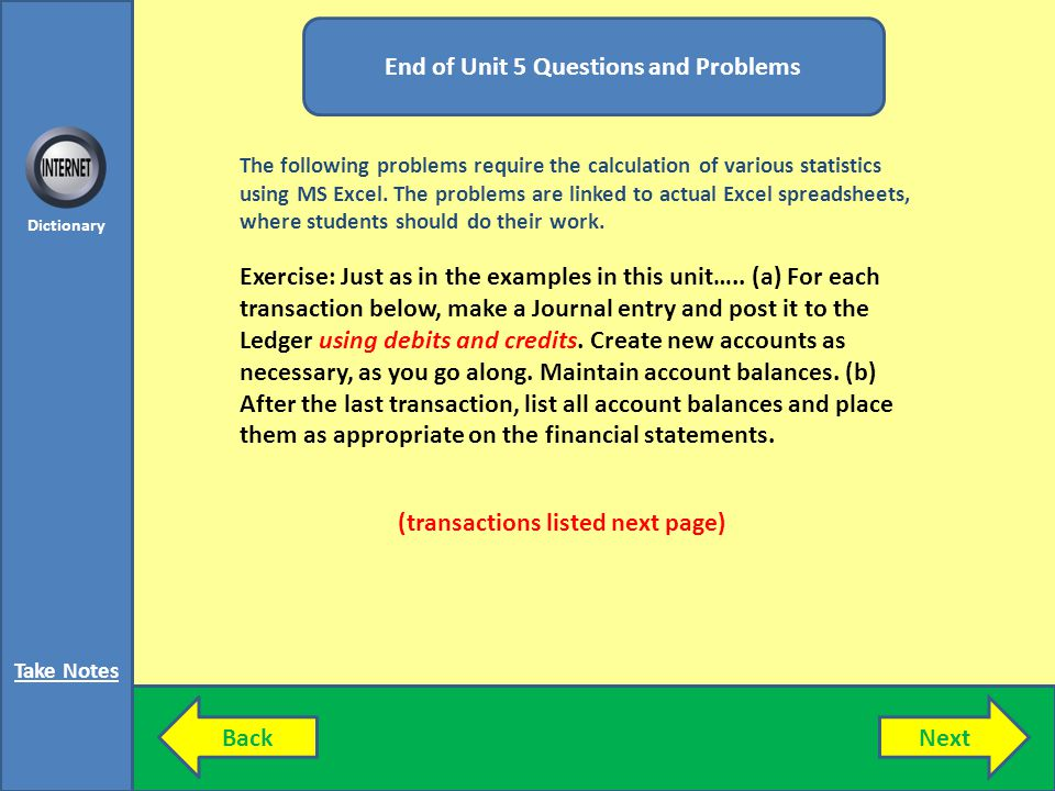 End of Unit 5 Questions and Problems