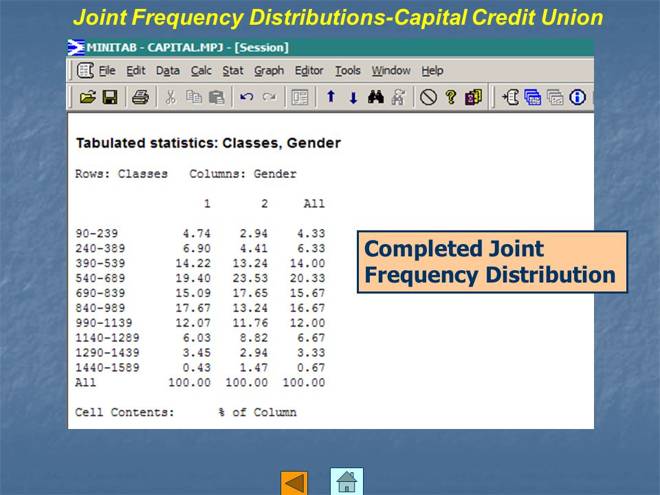 Joint Frequency Distributions-Capital Credit Union