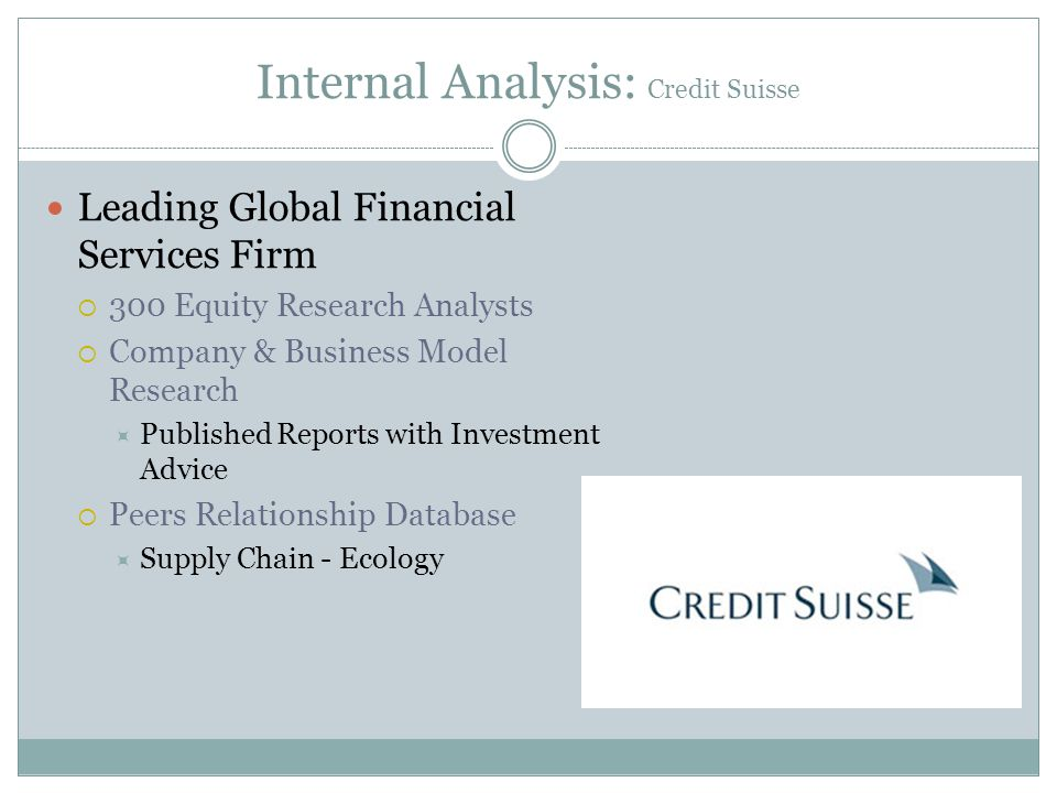 Internal Analysis: Credit Suisse