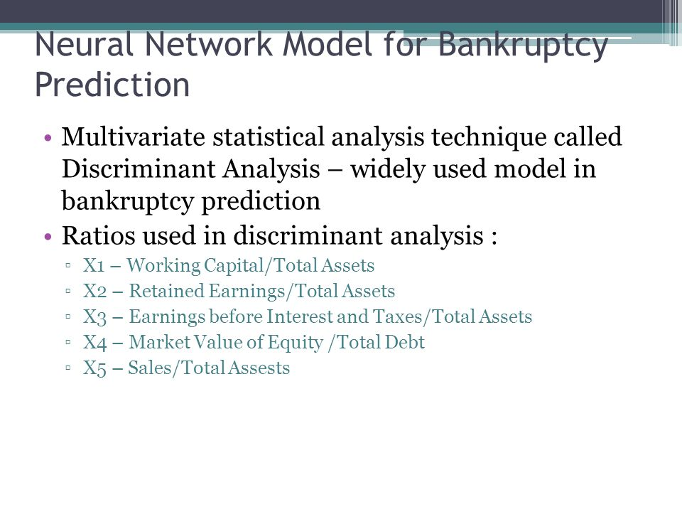 Neural Network Model for Bankruptcy Prediction