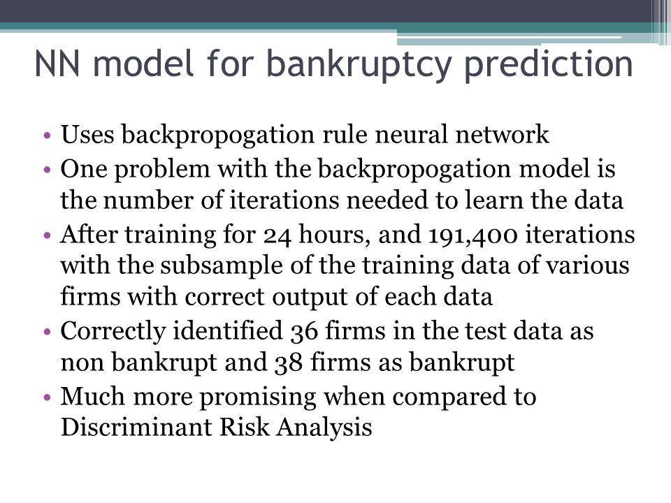 NN model for bankruptcy prediction