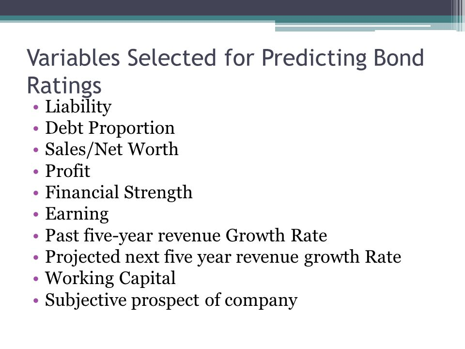 Variables Selected for Predicting Bond Ratings