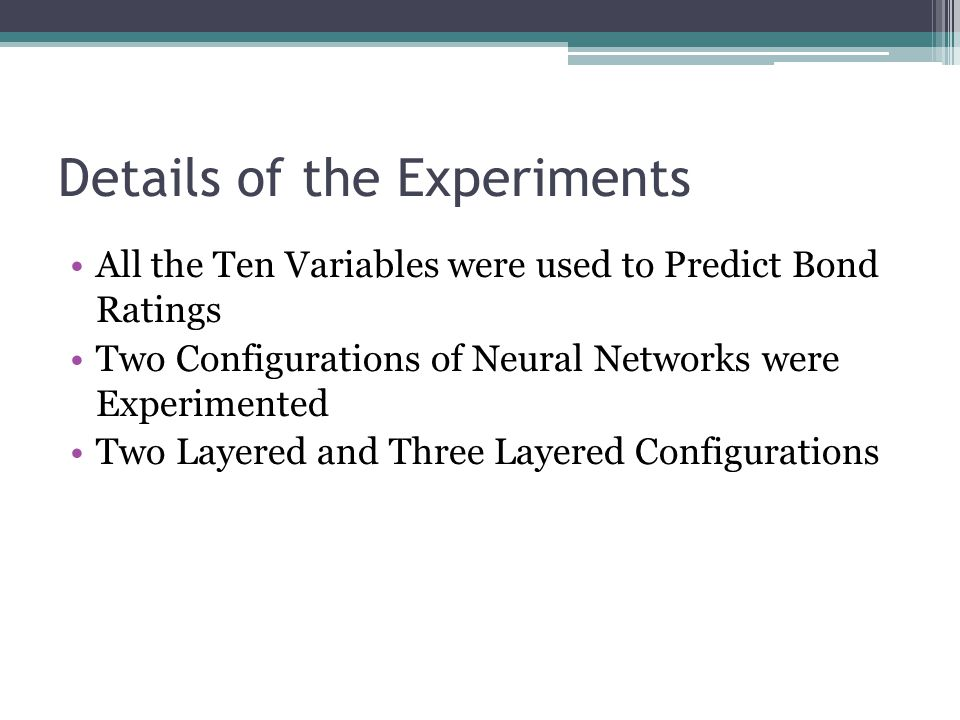 Details of the Experiments
