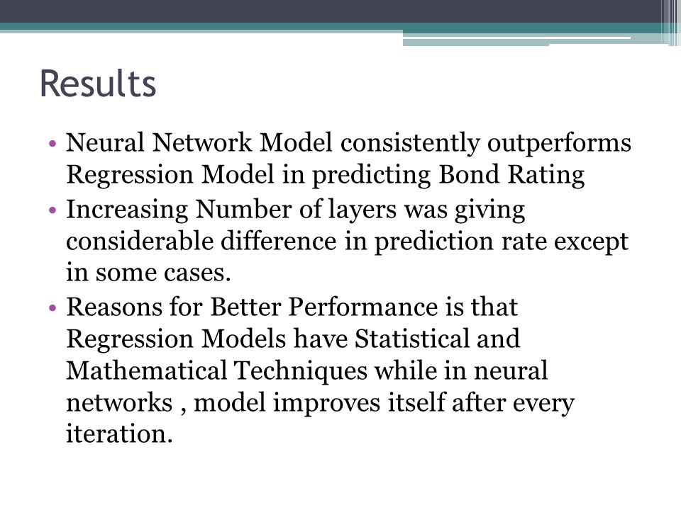 Results Neural Network Model consistently outperforms Regression Model in predicting Bond Rating.