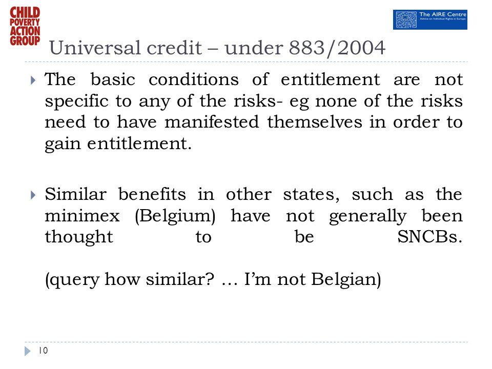 Universal credit – under 883/2004