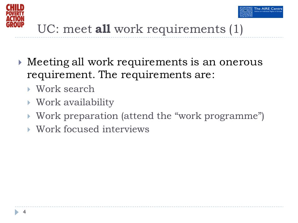 UC: meet all work requirements (1)