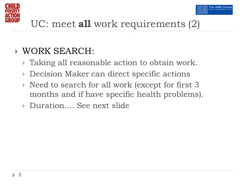 UC: meet all work requirements (2)