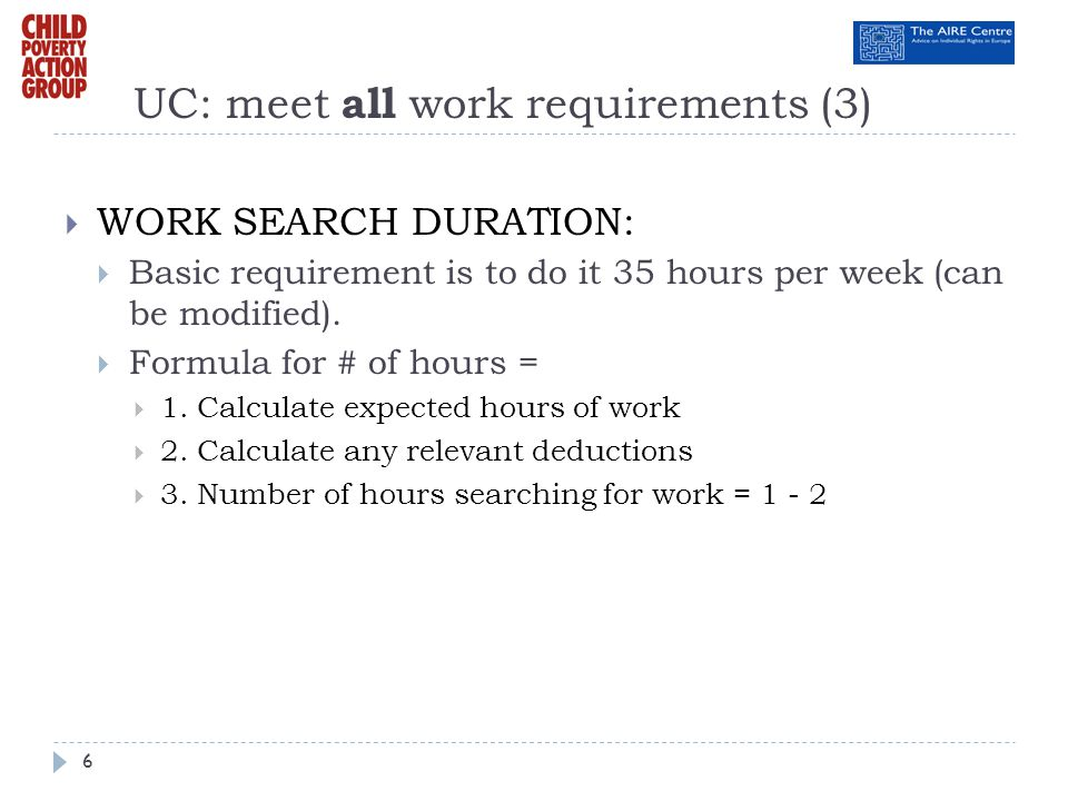 UC: meet all work requirements (3)