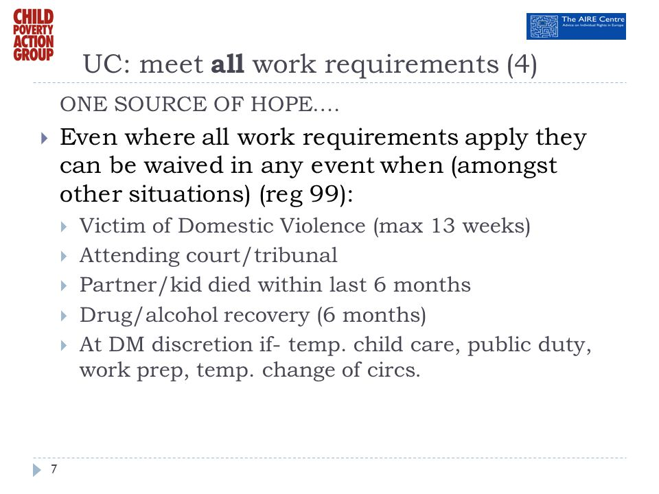 UC: meet all work requirements (4)