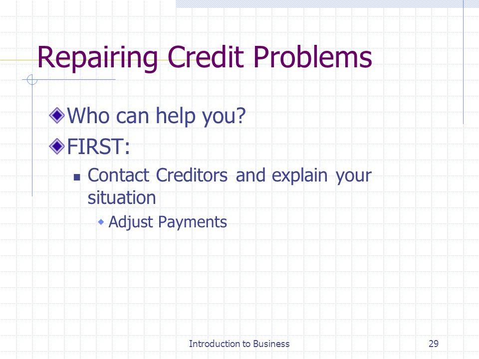 Repairing Credit Problems