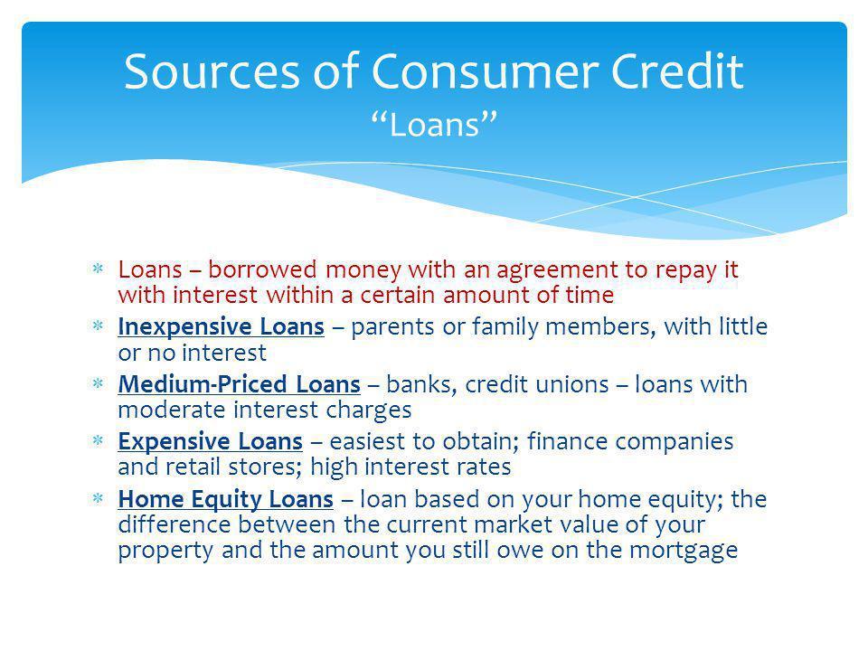 Sources of Consumer Credit Loans