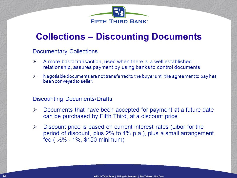 Collections – Discounting Documents