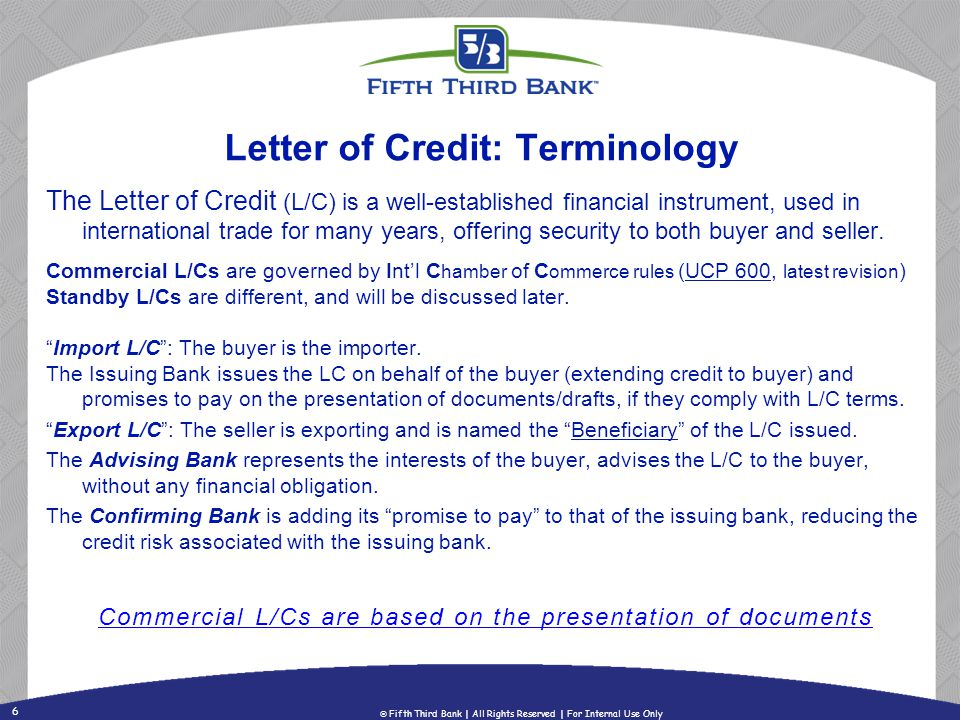 6 letter of credit terminology