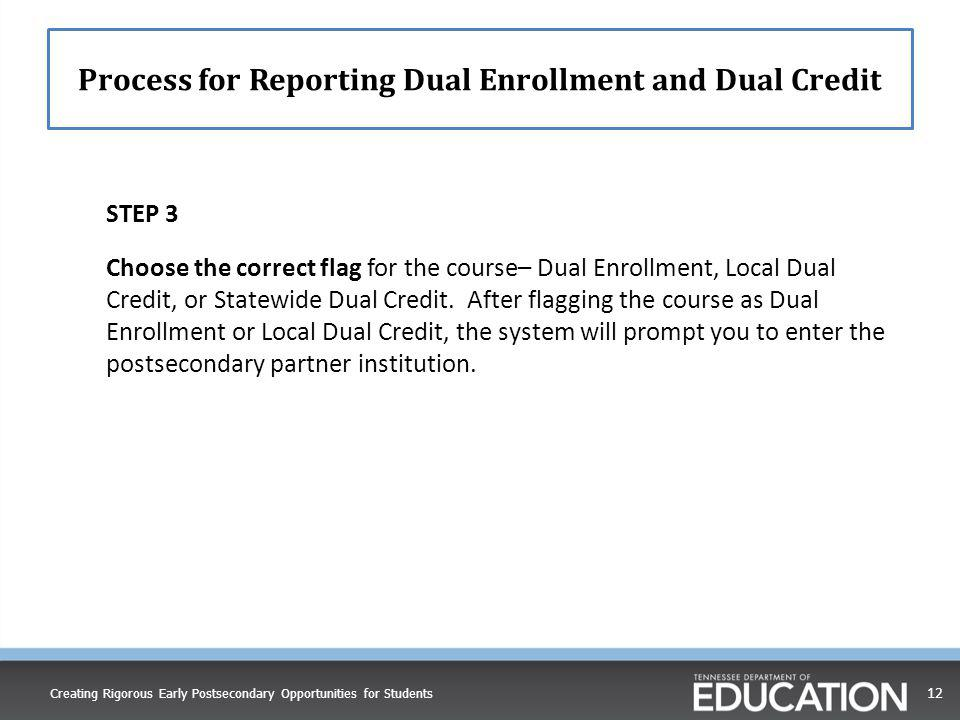 Process for Reporting Dual Enrollment and Dual Credit
