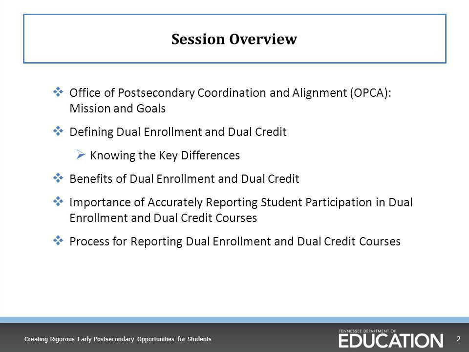 Session Overview Office of Postsecondary Coordination and Alignment (OPCA): Mission and Goals. Defining Dual Enrollment and Dual Credit.