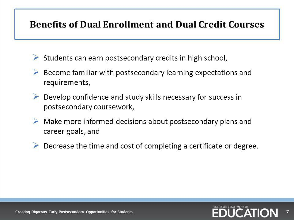 Benefits of Dual Enrollment and Dual Credit Courses