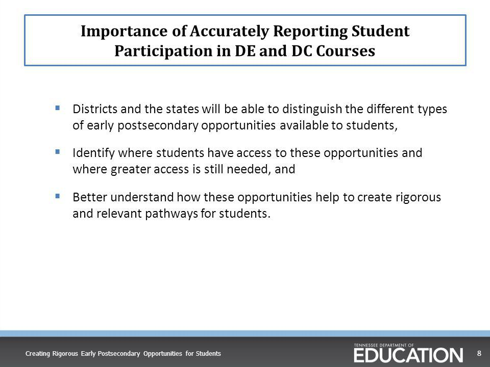 Importance of Accurately Reporting Student Participation in DE and DC Courses