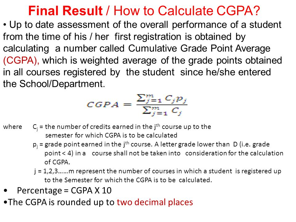 Final Result / How to Calculate CGPA