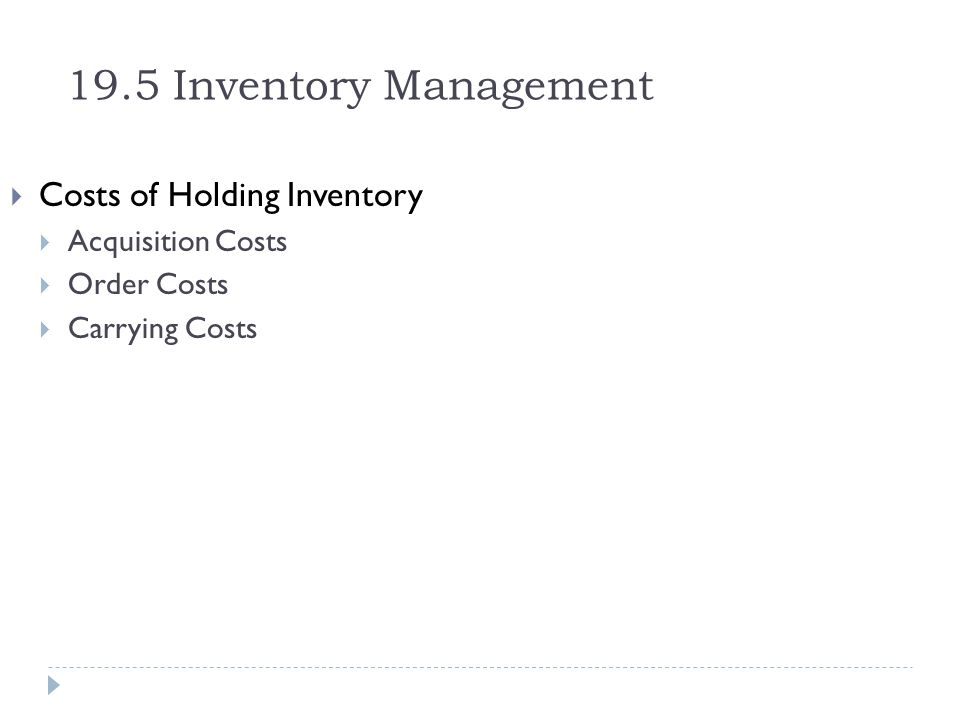 19.5 Inventory Management Costs of Holding Inventory Acquisition Costs
