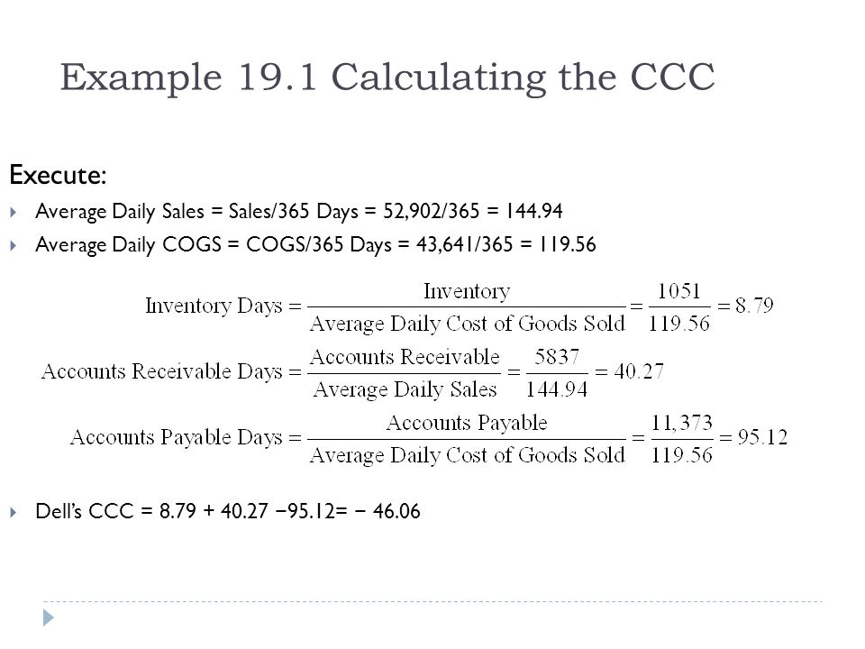 Example 19.1 Calculating the CCC