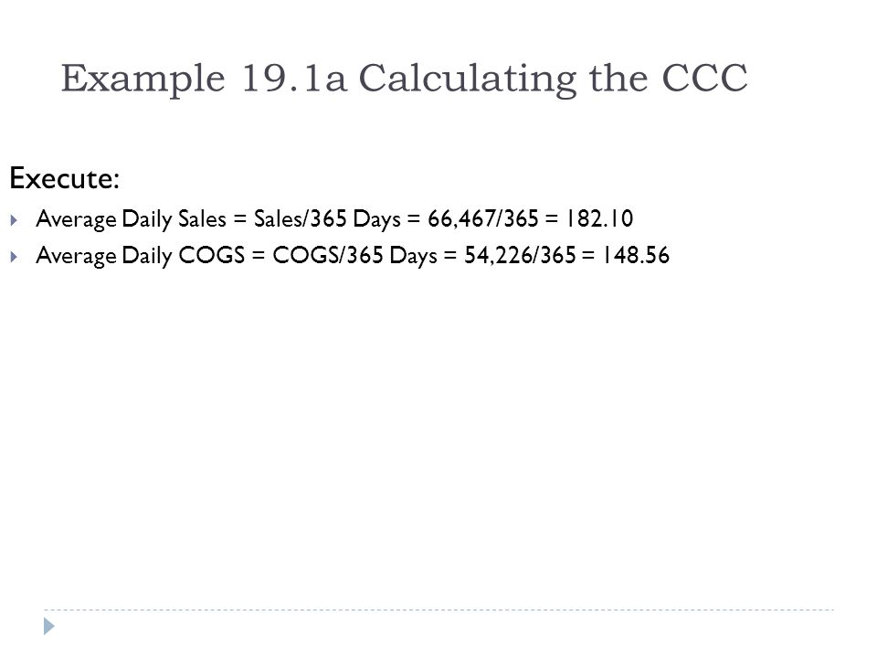 Example 19.1a Calculating the CCC