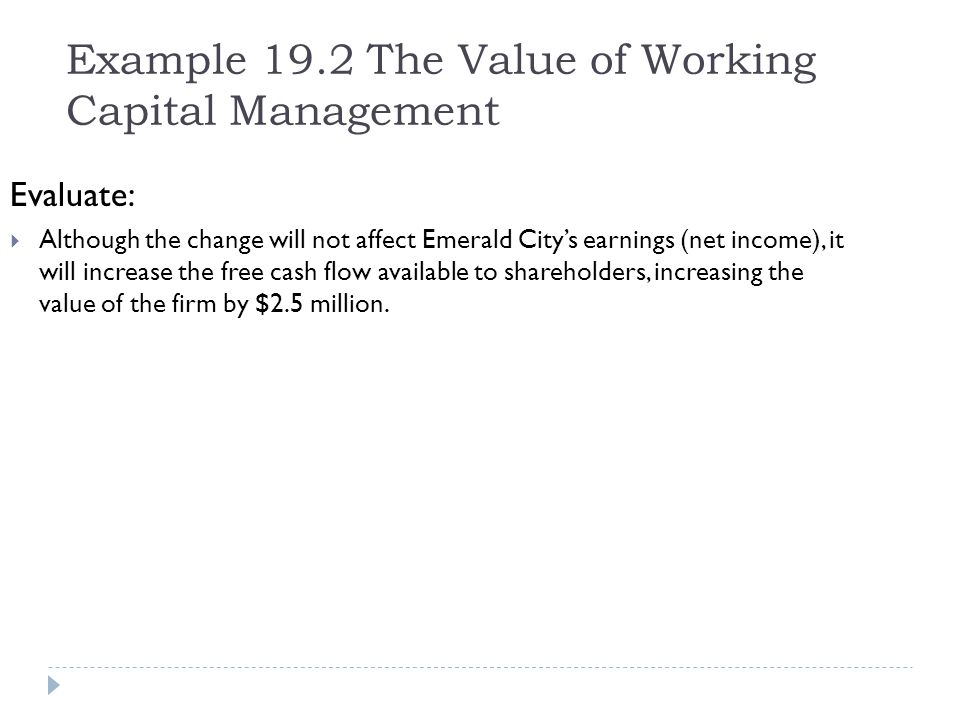 Example 19.2 The Value of Working Capital Management