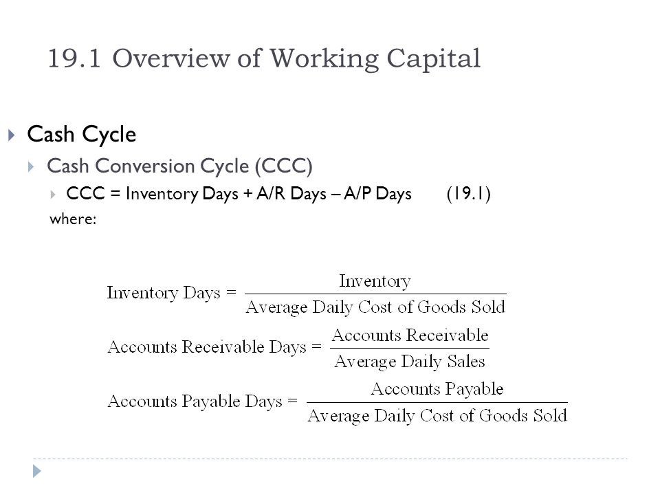 19.1 Overview of Working Capital