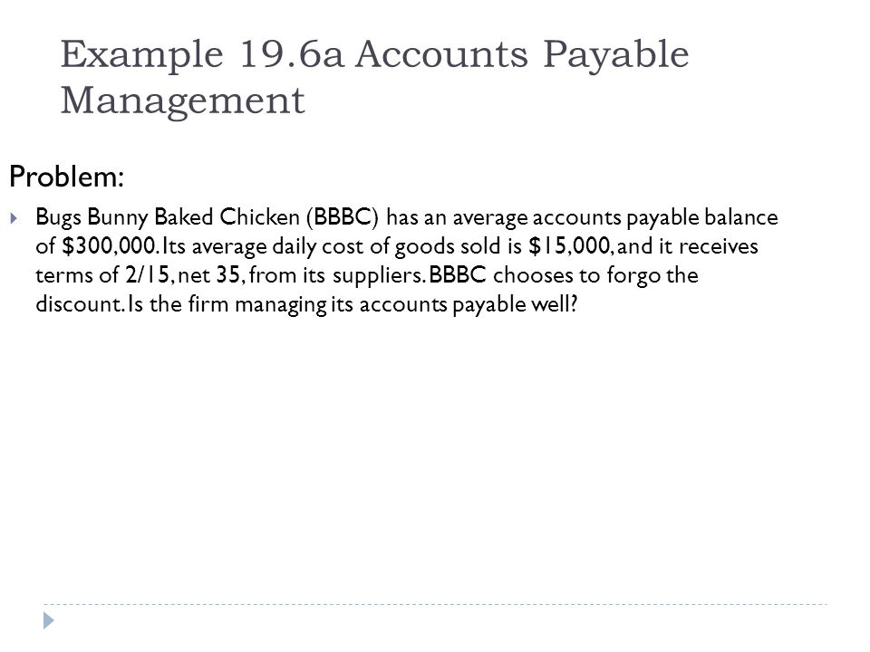 Example 19.6a Accounts Payable Management