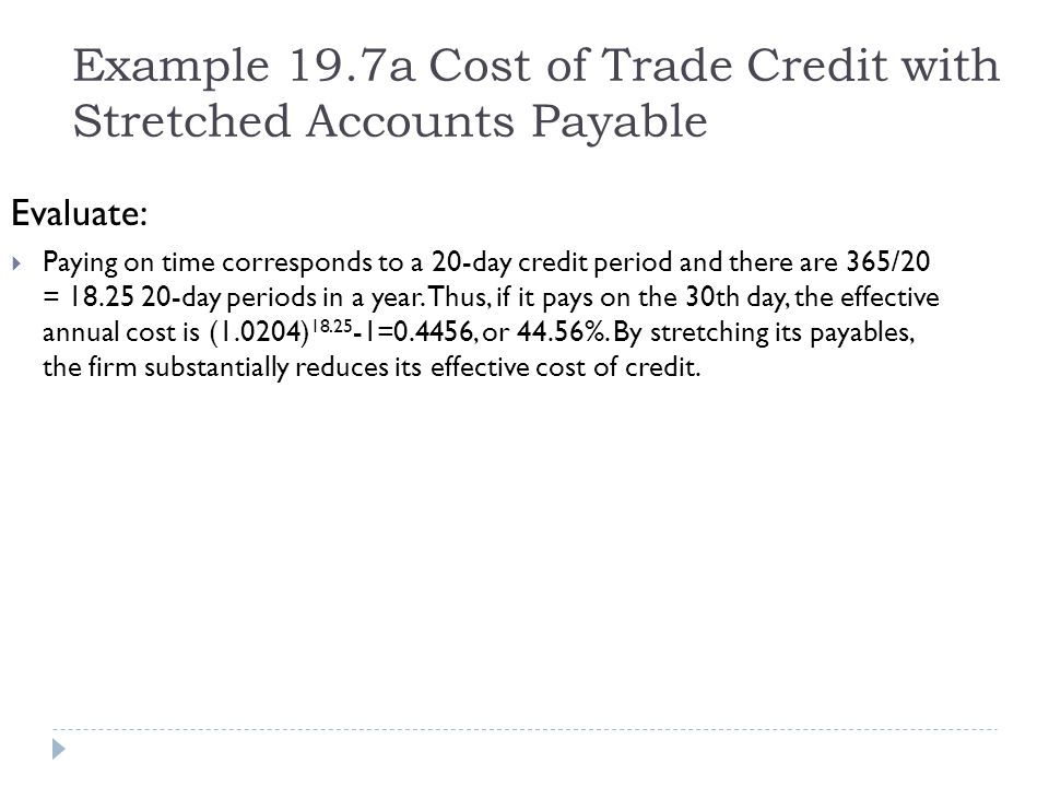 Example 19.7a Cost of Trade Credit with Stretched Accounts Payable