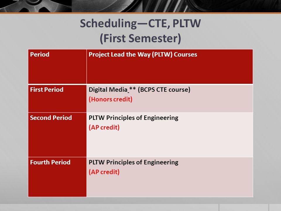 Scheduling—CTE, PLTW (First Semester)
