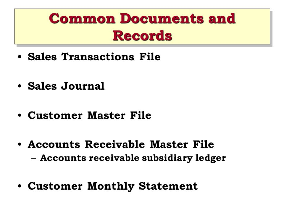 Common Documents and Records