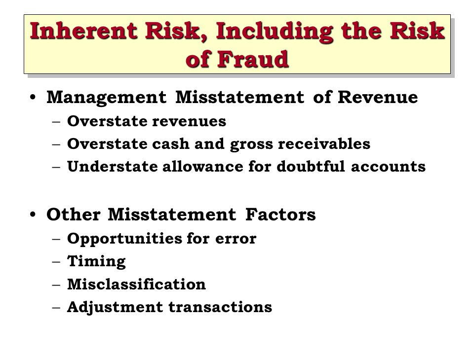 Inherent Risk, Including the Risk of Fraud