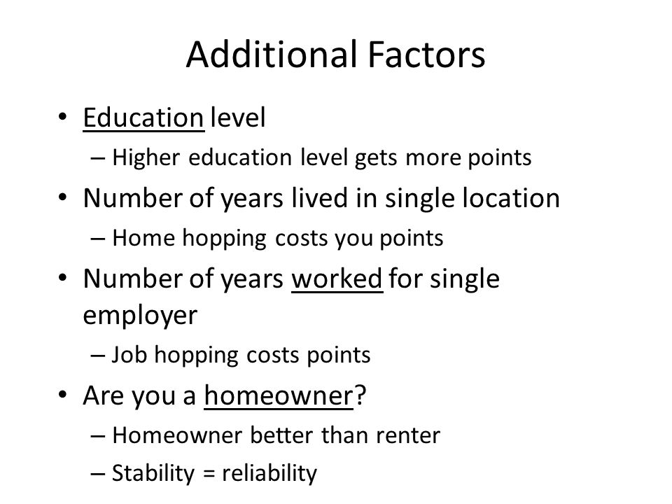 Additional Factors Education level
