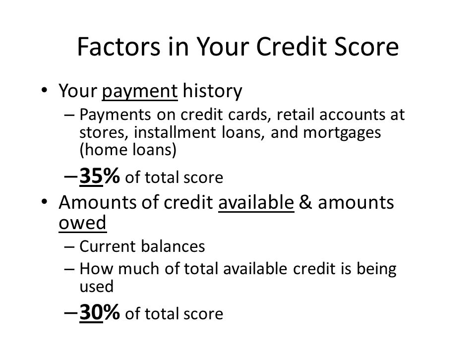 Factors in Your Credit Score