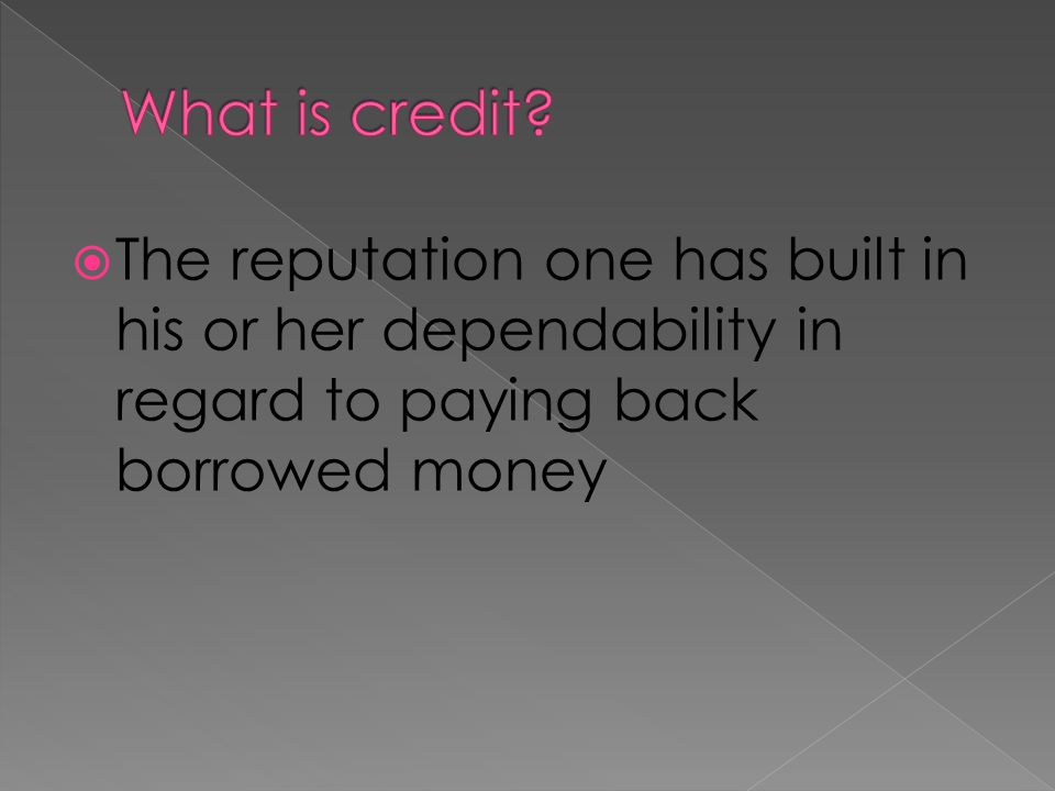 What is credit.