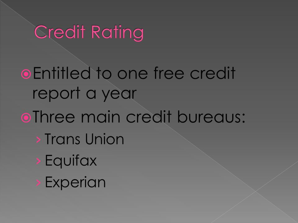 Credit Rating Entitled to one free credit report a year