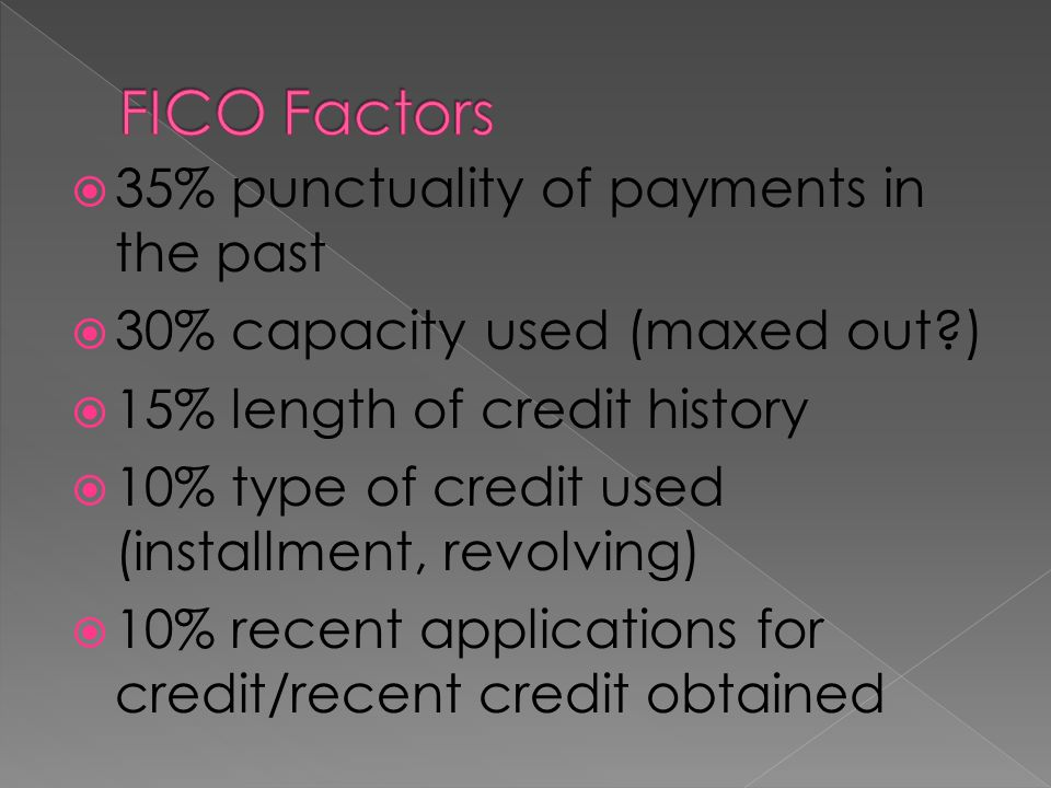 FICO Factors 35% punctuality of payments in the past