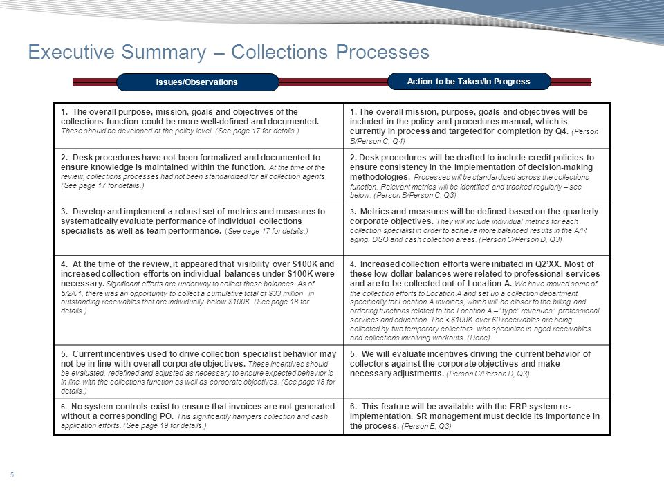 Executive Summary – Collections Processes