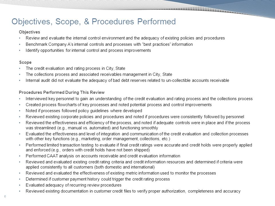 Objectives, Scope, & Procedures Performed