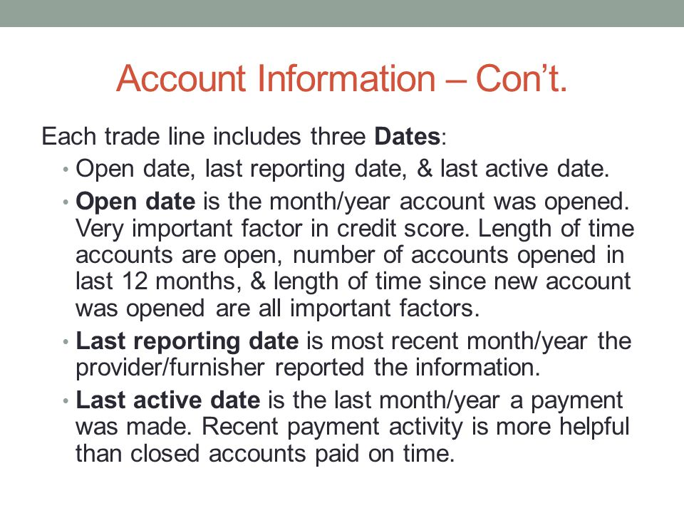 Account Information – Con't.