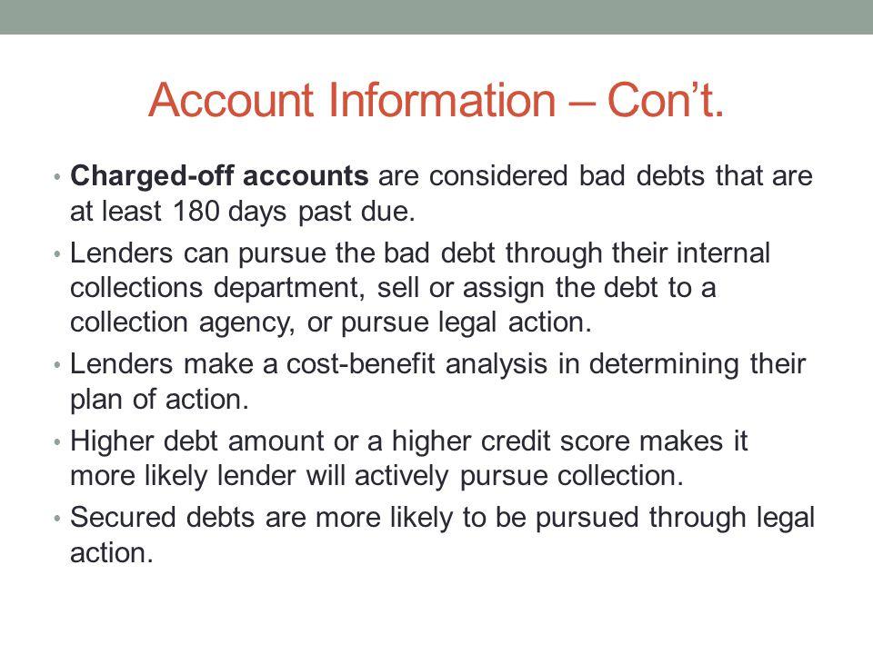 Account Information – Con't.
