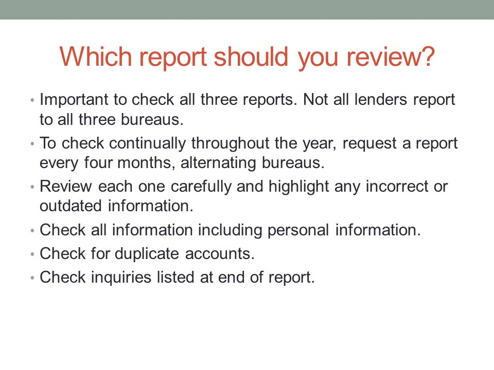 Which report should you review