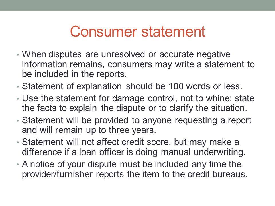 Consumer statement