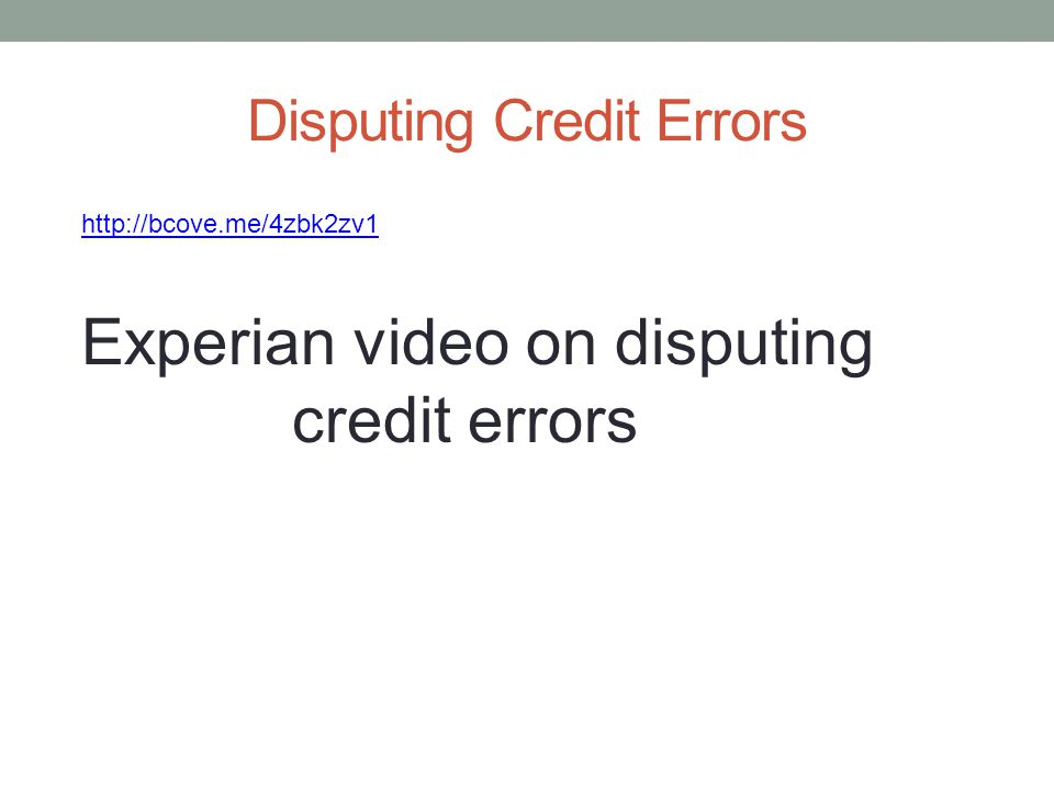 Disputing Credit Errors
