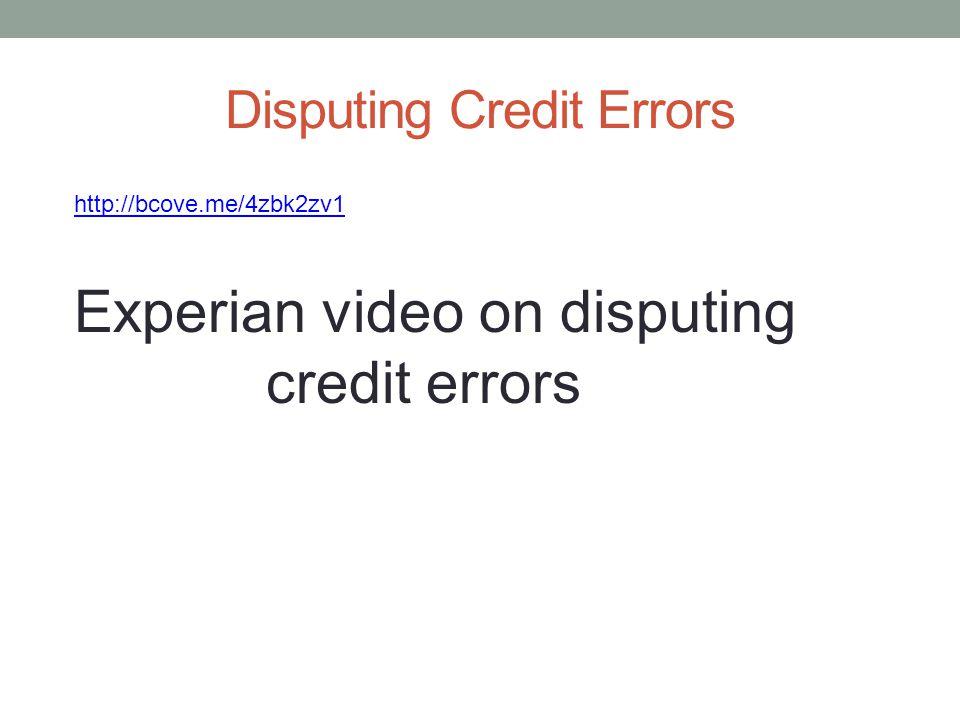 Disputing Credit Errors