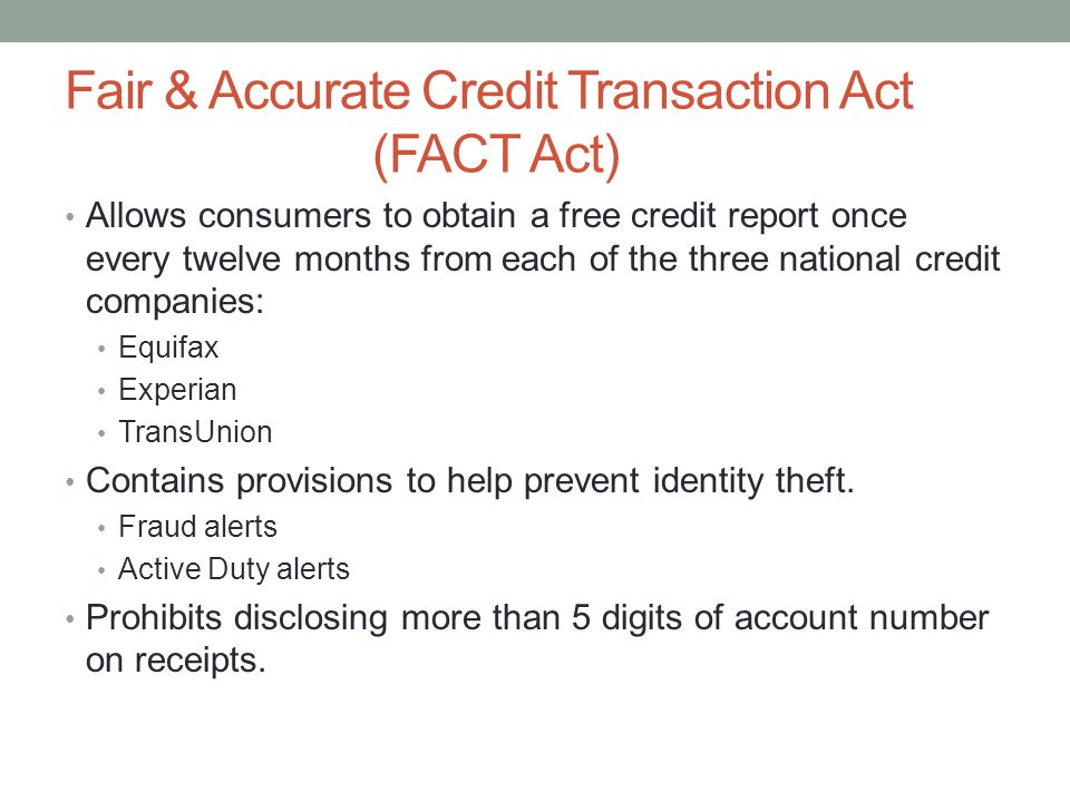 Fair & Accurate Credit Transaction Act (FACT Act)