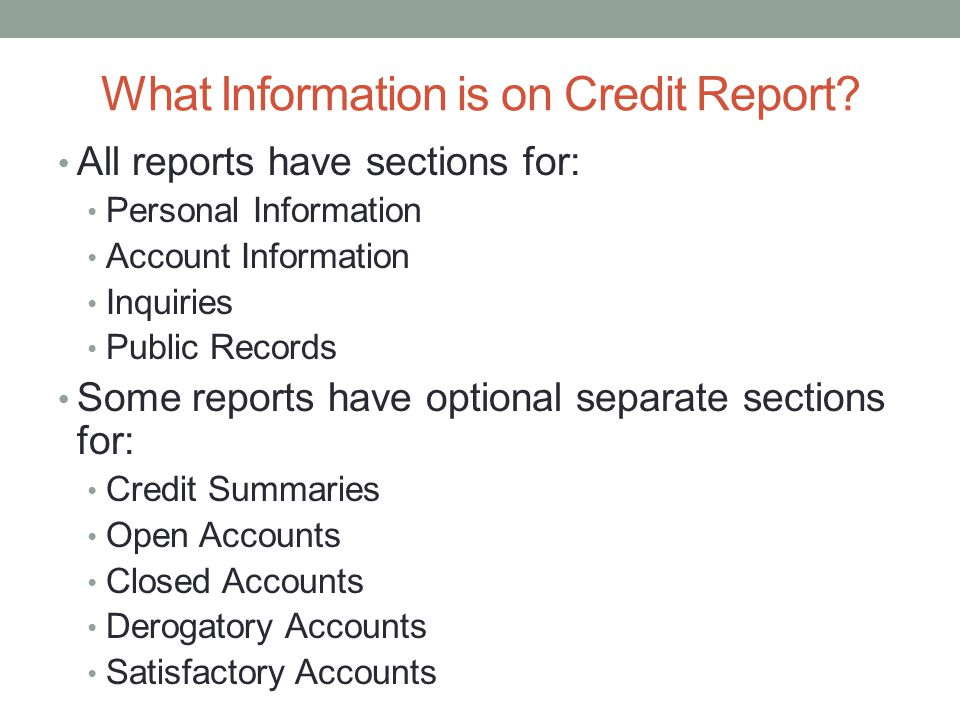 What Information is on Credit Report